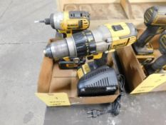 LOT: (1) Dewalt 1/2 in. Cordless Drill with Battery, (1) Dewalt 1/4 in. Cordless Impact Driver, with
