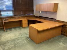 Wood desk, cradenza, file cabinet, shelf unit