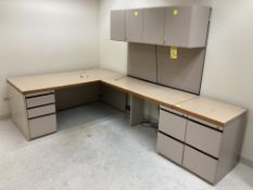 L-Shaped desk with upper cabinets and file cabinets