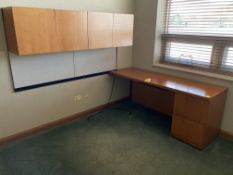 Wood desk with upper cabinet
