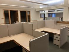 6 cubicles with desks and cabinets