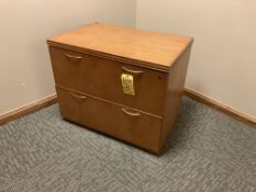 Wood desk with upper and side file cabinet