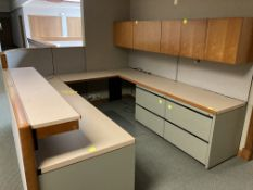 Cubicle with file cabinets and upper cabinet