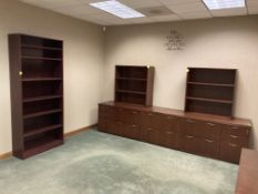Wood cabinets, shelves and table