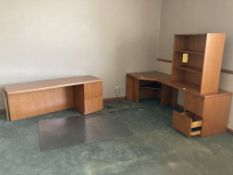 """L-shaped desk with upper cabinet and 48"""" round table"""