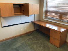 Wood desk with upper cabinet, 2 drawer file cabinet & shelf unit