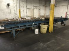 "Belt Conveyor, 10"" wide x 20' long belt conveyor on casters"