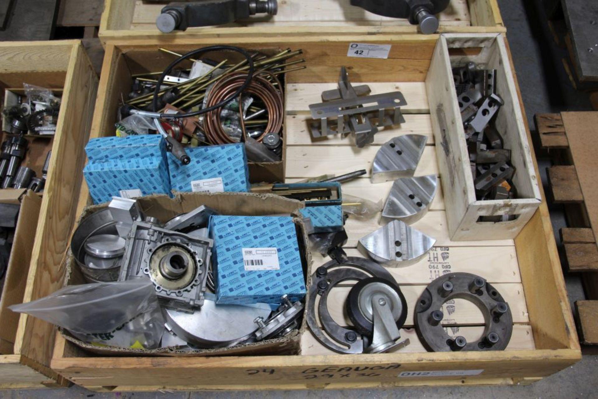 Lot 42 - assortment of aluminum stock, chuck teeth & misc.