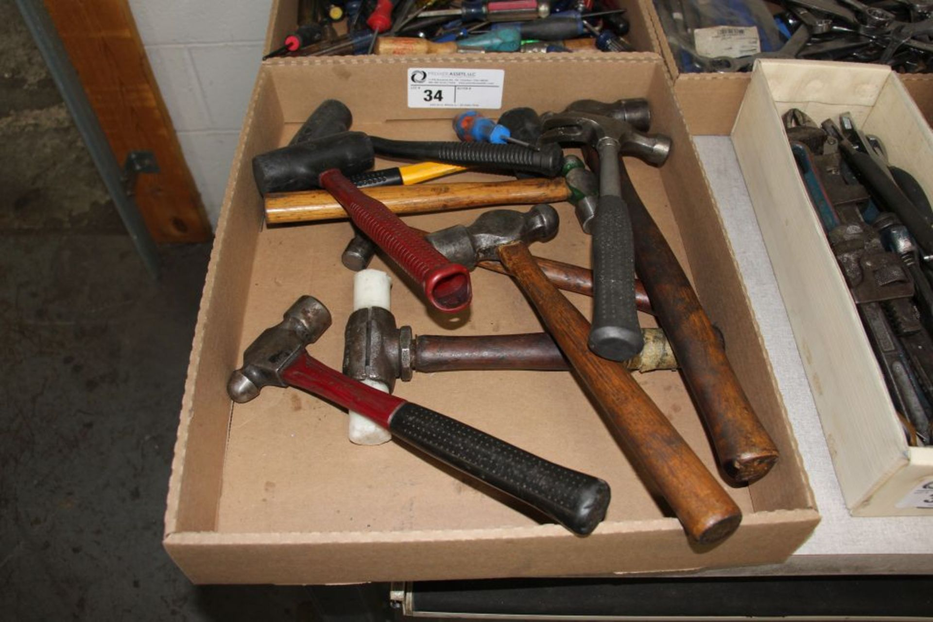 Lot 34 - assortment of hammers, rubber mallets & misc.