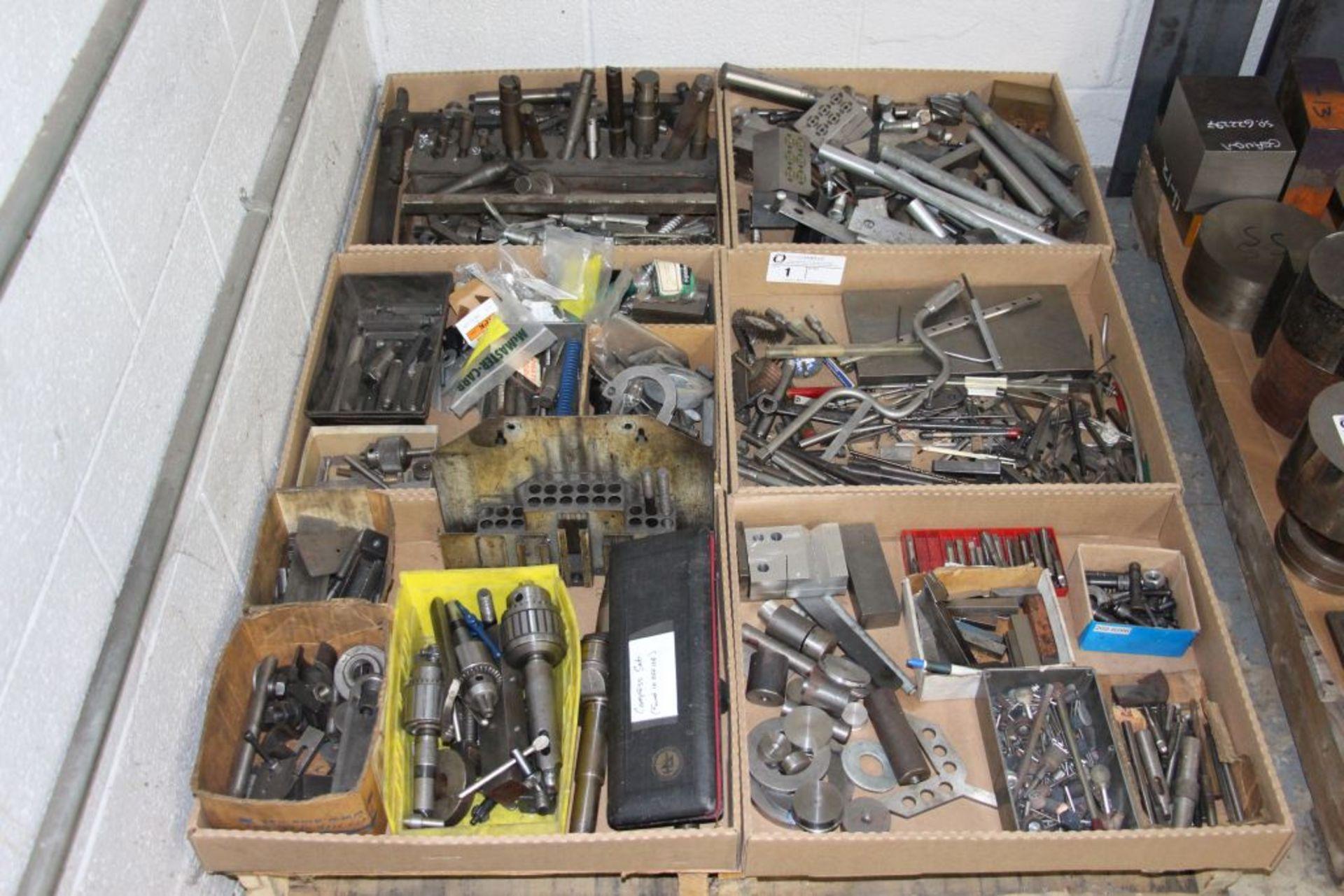 Lot 1 - skid of drills, chucks, tap, end mills & misc