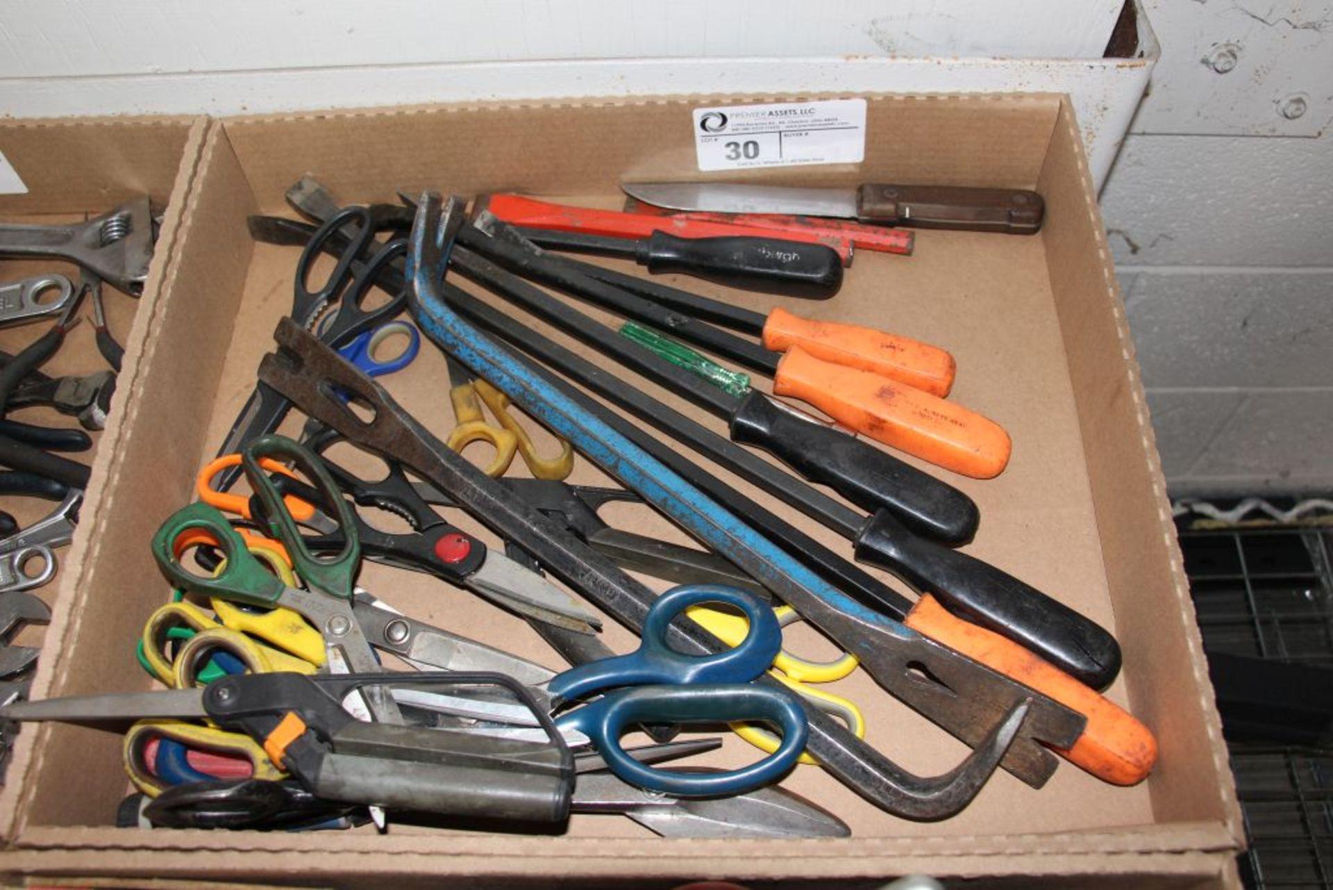 Lot 30 - assortment of scissors, crowbar & misc.