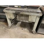 "weld table with granite top and casters, 50"" x 40"" x 32"""