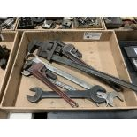 assortment of pipe wrenches & box wrenches