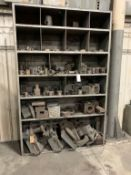 cabinet with assorted turret lathe tooling, collets, and hard jaws