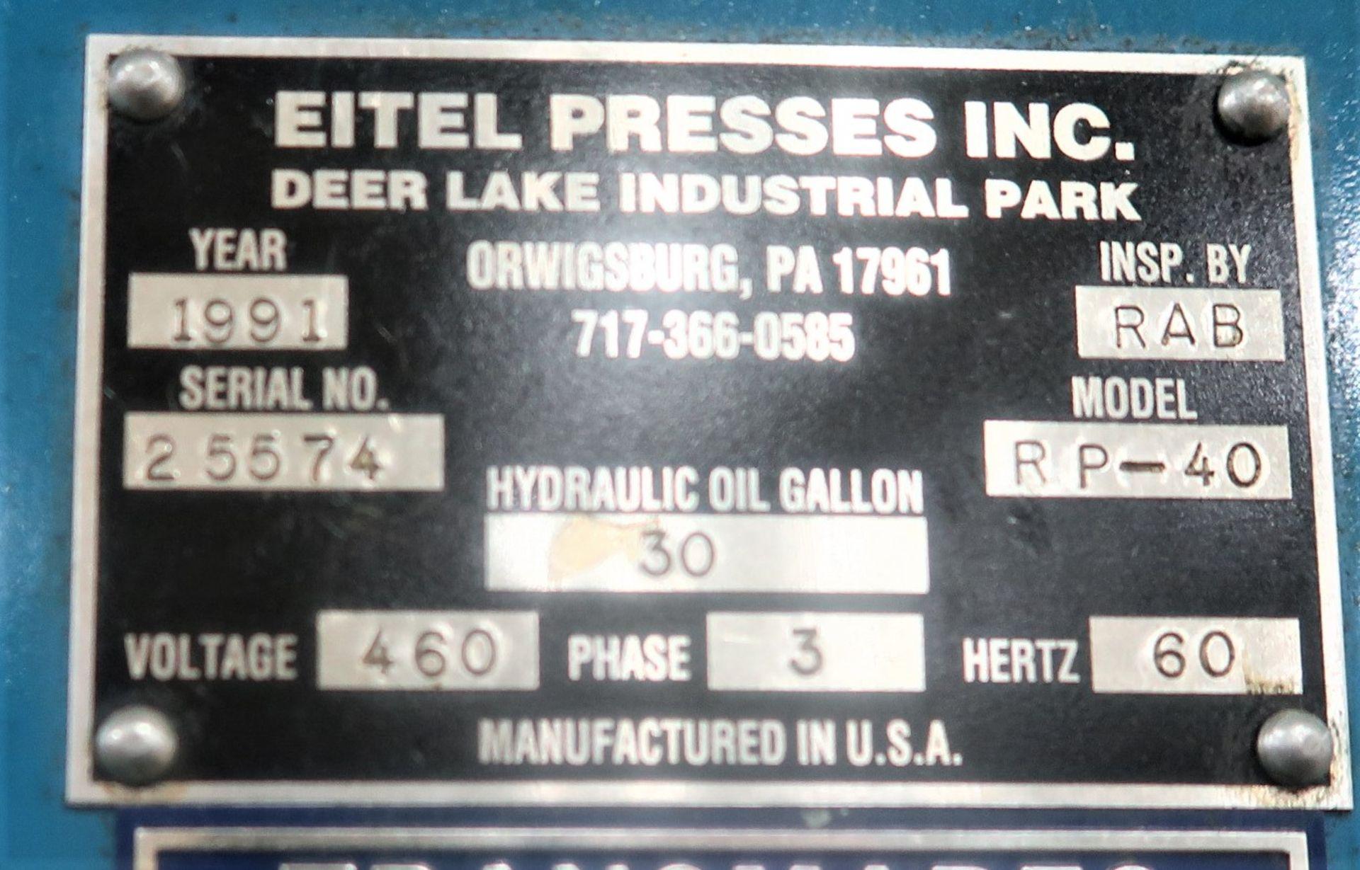 Lot 27 - 40 Ton Eitel Model RP-40 Precision Hydraulic Straightening Press, S/N 25574