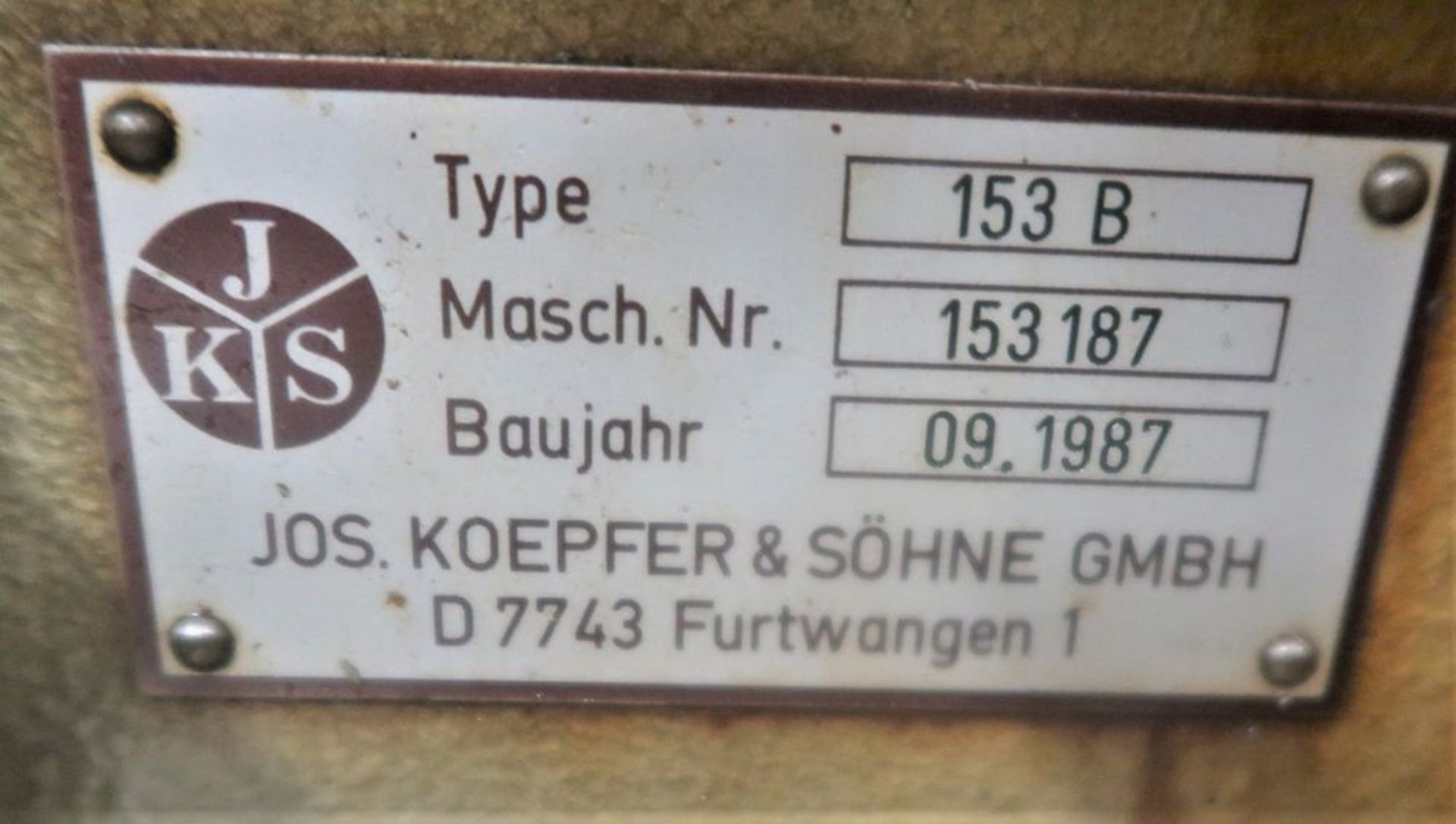 Koepfer 153B Gear Hobber w/Automatic Loading, S/N 153187 - Image 6 of 8