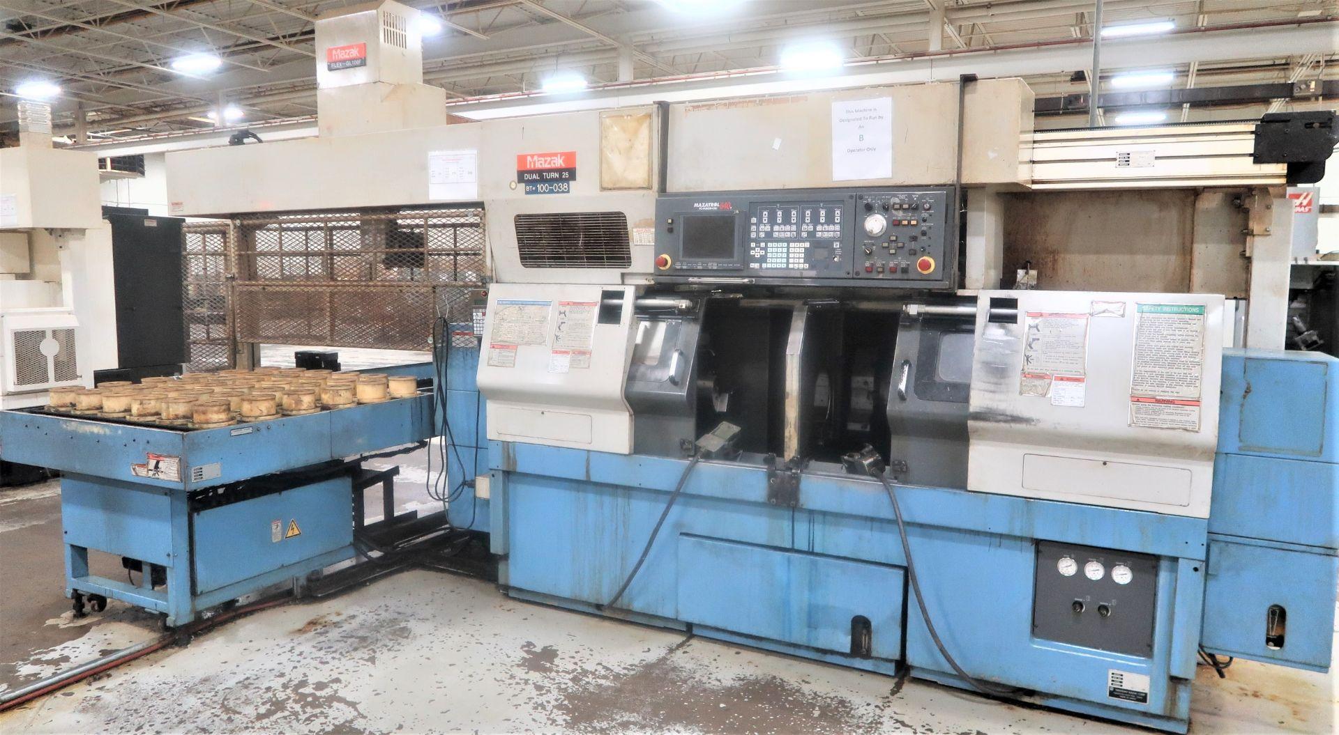 Mazak Dual Turn 25 Twin Spindle CNC Turning Center lathe, S/N 150888 - Image 2 of 13