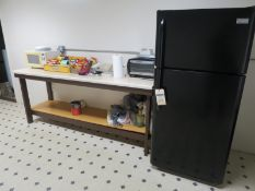 Break Room Items including Refrigerator, Microwave, Toaster and Table