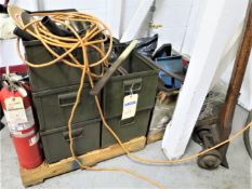Pallet with metal bins, fire extinguishers, and misc. tools
