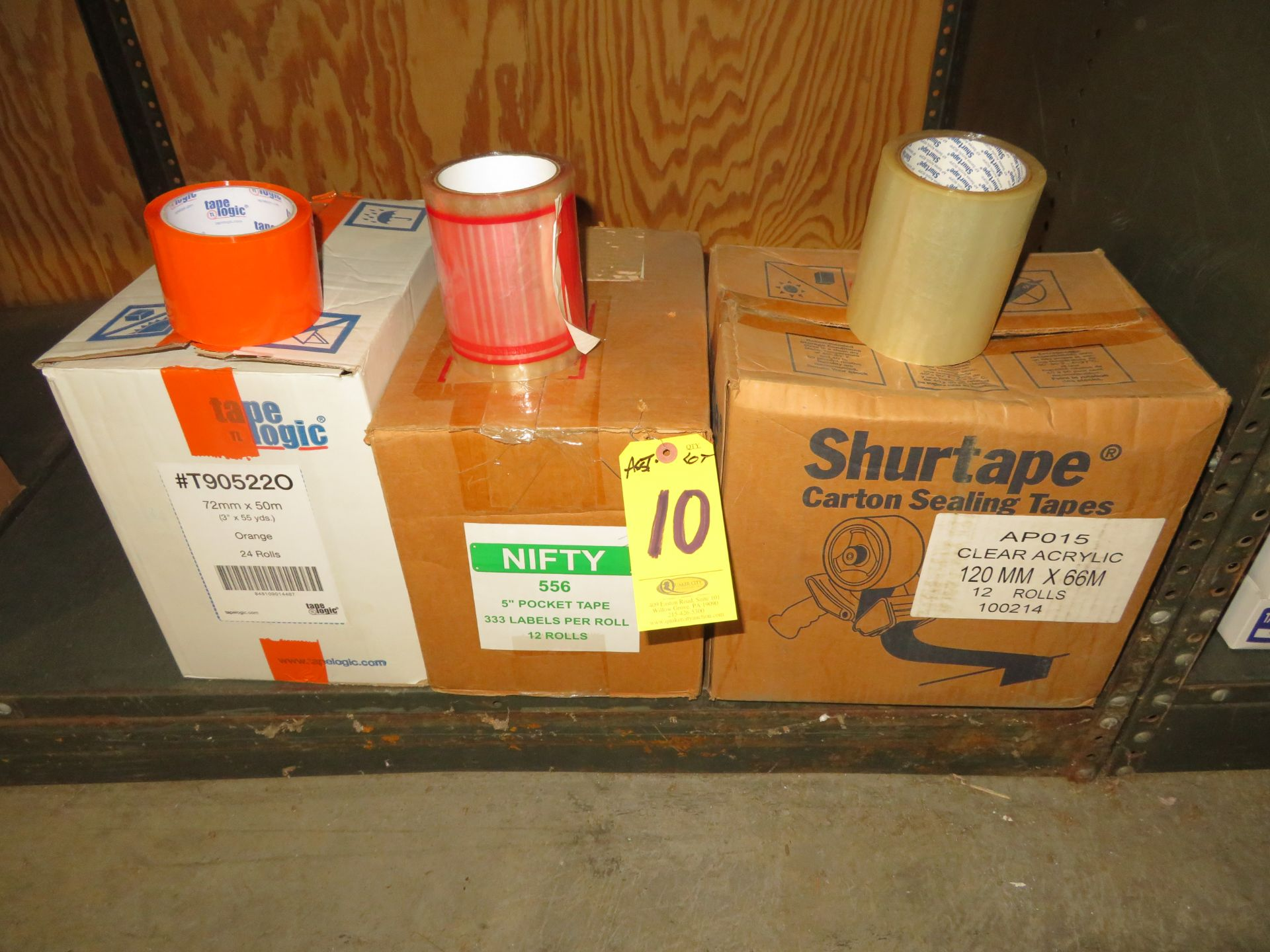 (3) BOXES CLEAR 5 IN POCKET, ORANGE & 4.75 CLEAR CARTON SEALING TAPE
