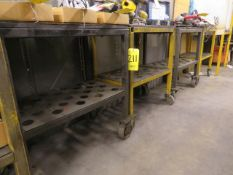(4) IRON MOBILE CARTS W/TOOL HOLDER INSERTS