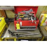 CRAFTSMAN TOOL BOX WITH TOOLS AND SOCKET WRENCHES