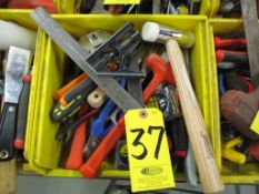 Assorted Hand Tools including Hammers, Screw Drivers, Putty Knives, Utility Knives, Pliers, Snips
