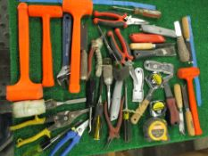 Assorted Hand Tools including Hammers, Screw Drivers, Putty Knives, Utility Knives, Pliers, Snips, T