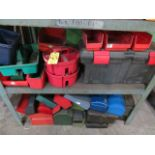ASSORTED TOOL BOXES AND PLASTIC PARTS BINS