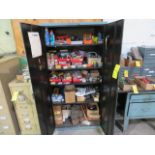 DOUBLE DOOR SUPPLY CABINET W/ASSORTED ELECTRICAL PARTS