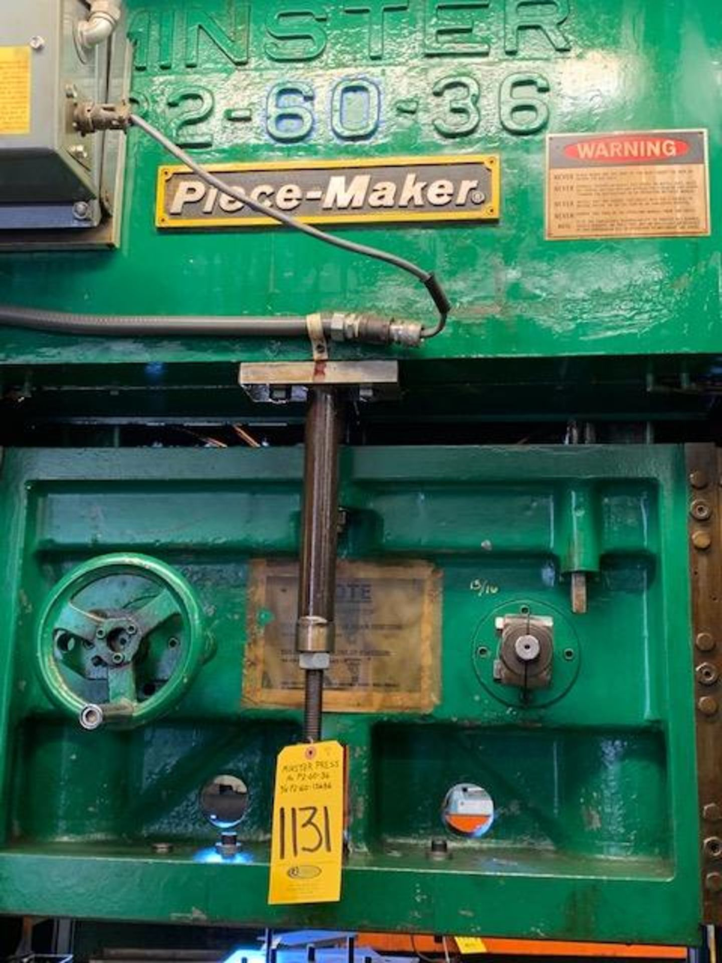 Lot 1131 - 1965 MINSTER P2-60-36 PIECE-MAKER SSDC PRESS, S/N P2-60-15686