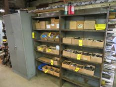 (2) SECTIONS OF STEEL SHELVING AND DBL DOOR CABINET (CONTENTS NOT INCLUDED)