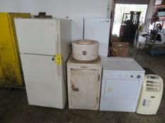 APPLIANCES -- G.E. OLD-TIME REFRIGERATOR, (2) REFRIG/FREEZERS, ELECTRIC DRYER, (2) UPRIGHT A/C UNITS