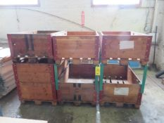 (6) STACKABLE WOOD CRATES W/ANGLE IRON SIDES (48 IN. X 32 IN.)