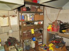 STEEL SHELVING UNIT W/CONTENTS: ASSORTED FIXTURES, FLUX AND FLUIDS