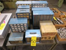 ASSORTED PARTS CABINETS W/MISC. CONNECTORS AND PARTS