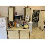 LOT KITCHEN CABINETS WITH SUPPLIES, COFFEE MUGS, COFFEE POT, ETC
