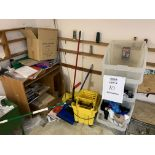 LOT PLASTIC STACK BINS & CLEANING SUPPLIES