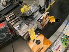 ASSORTED JEEP ACCESSORIES, SWITCH PANEL, TIRE REPAIR KITS, ETC