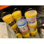 ASSORTED BUCKETS & BAGS OF STUCCO, ADHESIVE, ETC