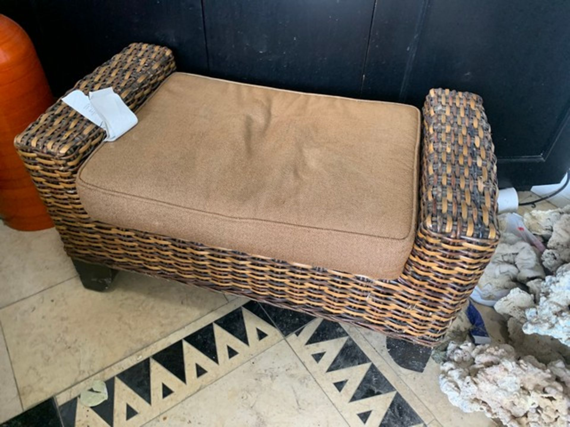 Lot 226 - PIECES - 1- RATTAN END TABLE / 2- BLACK & TAN CUSHIONED CHAIRS