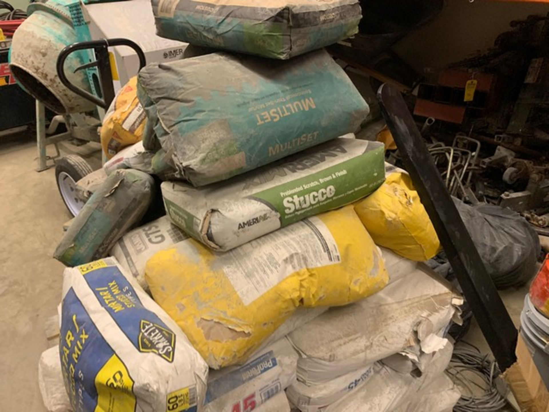 Lot 60 - ASSORTED BUCKETS & BAGS OF STUCCO, ADHESIVE, ETC