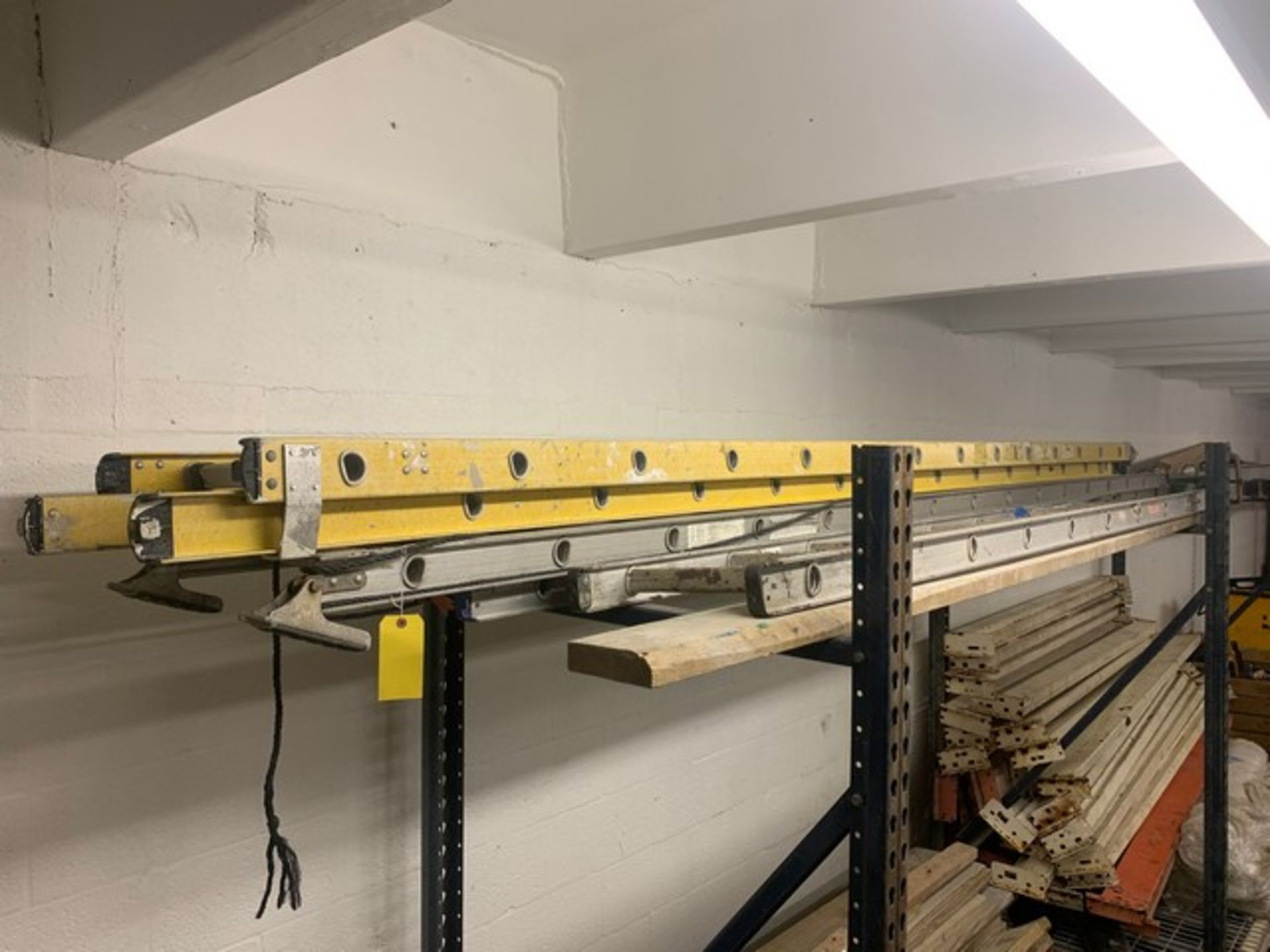 Lot 201 - ASSORTED EXTENSION LADDERS (ON LOFT)