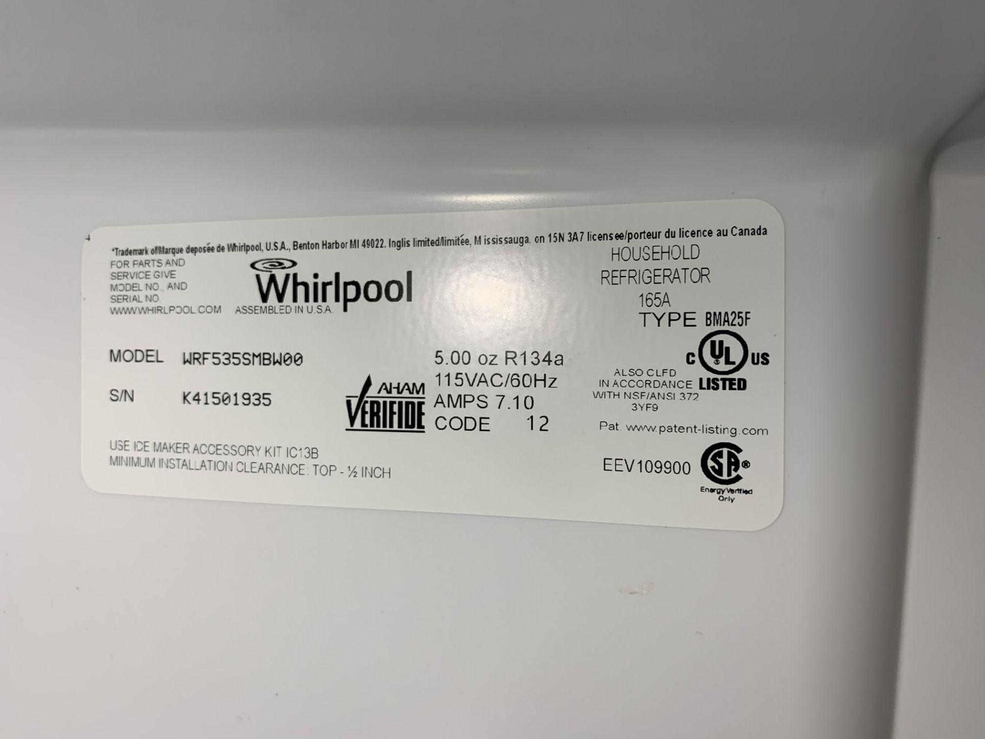 Lot 301 - WHIRLPOOL WRF535SMBWOO WHITE FRENCH DOOR REFRIGERATOR / FREEZER