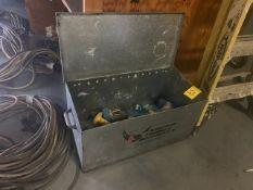 METAL BOX WITH ASSORTED HAND TOOLS, CAR PUNCHES, SCRAPERS, ETC