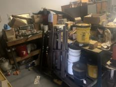 LOT AIR HOSES, CHEMICALS, SOLVENTS, ROLLER BRUSHES, TIME CLOCK, MICROWAVE, SPACE HEATER, ETC (NO TAB