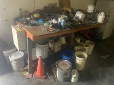 LOT ASSORTED HARDWARE, BRAIDED CABLE, FIRST AID KIT, EXTENSION CORDS, PAINTS, SOLVENTS, ETC (NO WORK