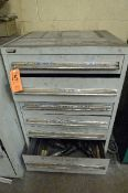 LOT: CABINET W/ LARGE DRILLS & CUTTERS
