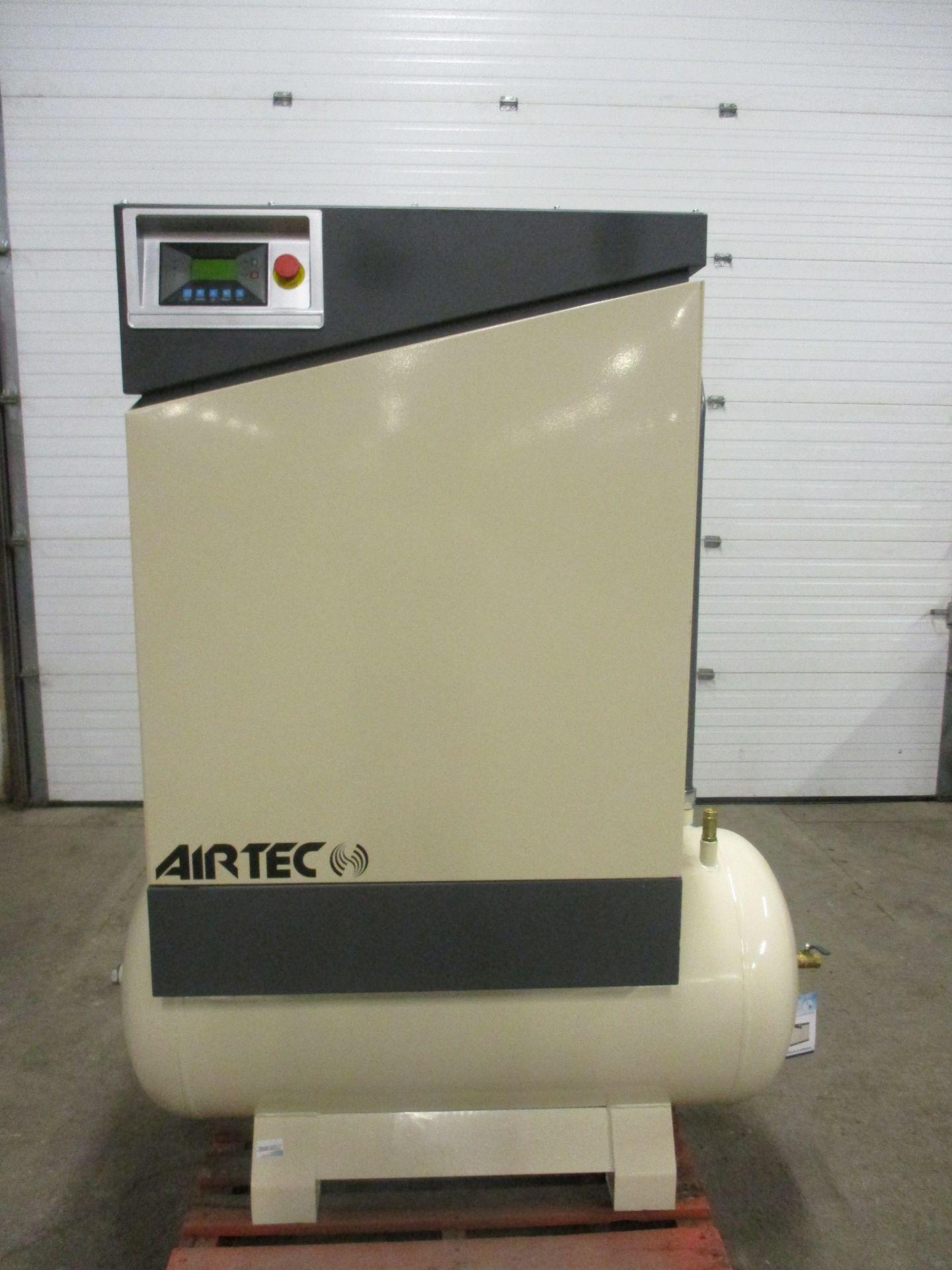 Lot 264 - Airtec 20HP Rotary Screw Air Compressor - MINT UNUSED COMPRESSOR with 80 gallon horizontal