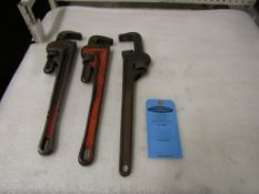 Lot of 3 Pipe Wrenches - brand new